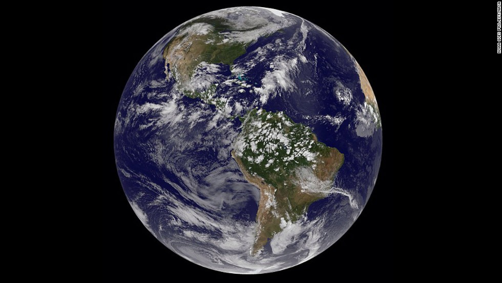 "Earth on September 7, as seen by the Geostationary Operational Environmental Satellites, which looks out for atmospheric ""triggers"" for severe weather conditions such as flash floods and hurricanes."