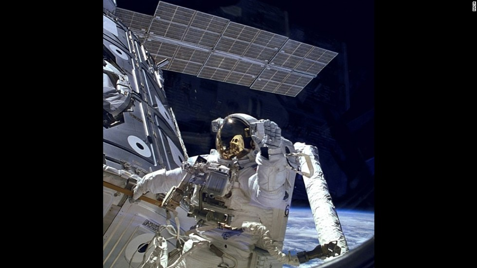 NASA posted this snap of astronaut James H. Newman on November 20, 1998, to celebrate the 15th anniversary of the International Space Station.
