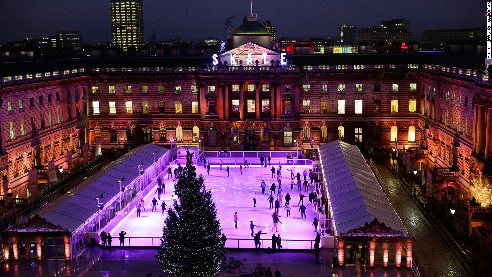 "You only get an hour of skating in the 18th-century courtyard, but it's one you won't forget. Ever had champagne and chocolates while you skate? You can here. The rink turns into a dance floor during ""Club Nights"" with live DJs."