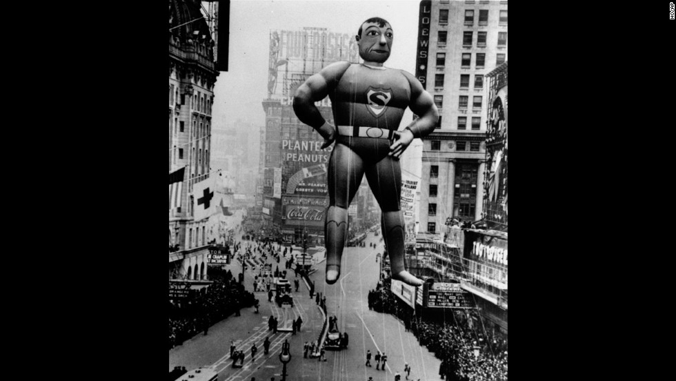 """Its a bird! Its a plane!"" No, its a typical joke that is associated with the helium inflated Superman balloon that debuted in 1939. The Man of Rubber has graced the parade with three different versions of himself, also in 1966 and in 1980. The third version of himself is the largest balloon ever to appear in the history of the Macy's Parade, at 104 feet long."