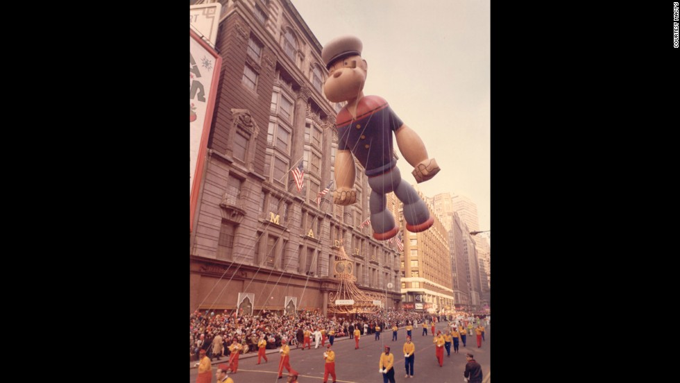 Popeye's first balloon debut was marked by rainy weather in 1957. That ol' spinach-eating sailor was constructed with an indentation on the top of his hat. During the parade, the downpour filled his cap with gallons of water and caused him to veer over the crowd, where he dumped cold water all over the surprised spectators.
