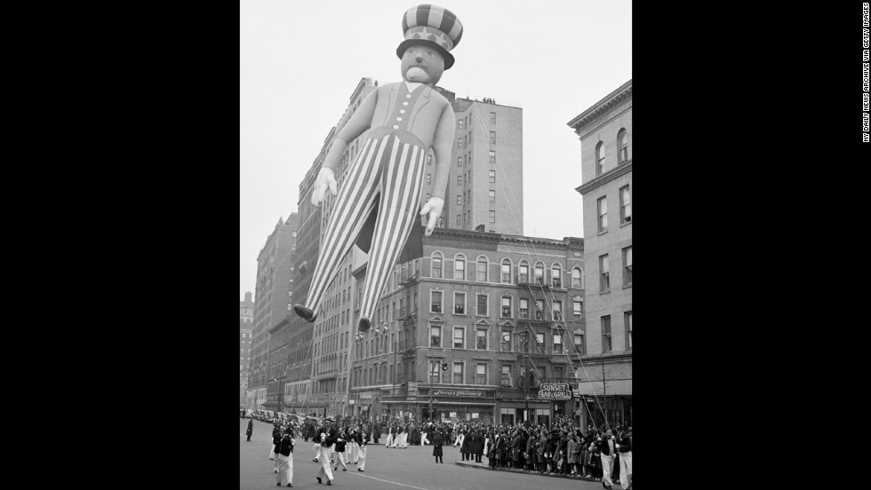 A parade wouldn't be the same without good ole' Uncle Sam bouncing around in the wind in 1940. Two years later, Macy's brought the parade to a halt for the first time. World War II had started and due to rubber and helium shortages, balloons were deflated and donated to the government, providing 650 pounds of scrap rubber for the war effort. The parade came back in full swing in 1945 with a record-breaking 2 million spectators lining the streets.
