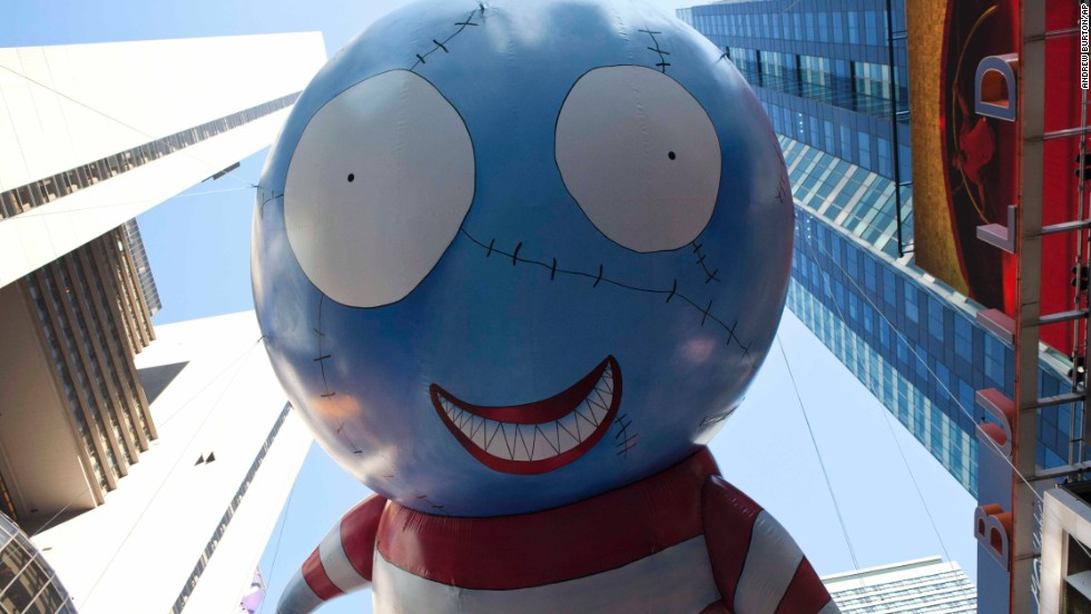 """B,"" designed by Tim Burton, floats during its first appearance in the Macy's Parade in 2011."