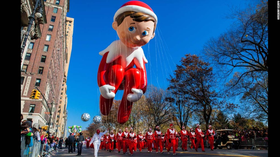 The Macy's parade reveals its star elf, the Elf on the Shelf, which was created by Keith Lapinig of Queens, New York, for the Nationwide Contest to Design an Elf Balloon for the 85th Anniversary of the Macy's parade in 2012. Following approximately 1,000 entries on Macy's Facebook page, the general public voted for their favorite out of 85 best submissions.