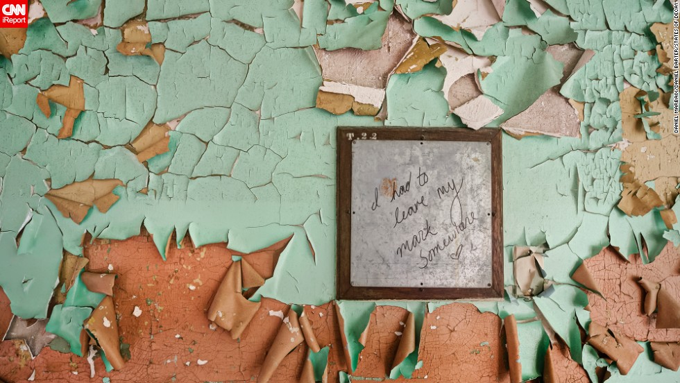 """I had to leave my mark somewhere"" says this note found on a wall in a New Jersey asylum."