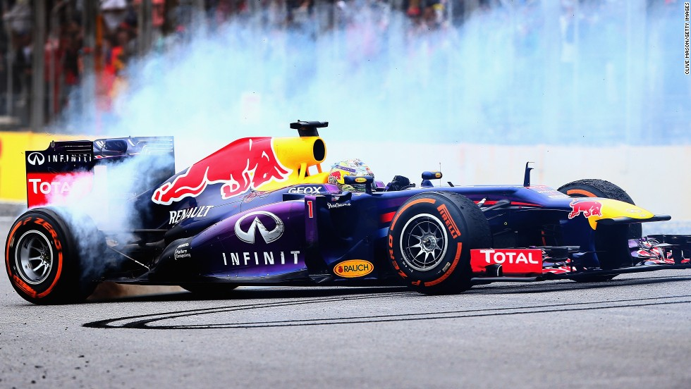 Vettel treated the crowd to a tire burning donut after wrapping up his ninth straight F1 victory by claiming the Brazilian Grand Prix.