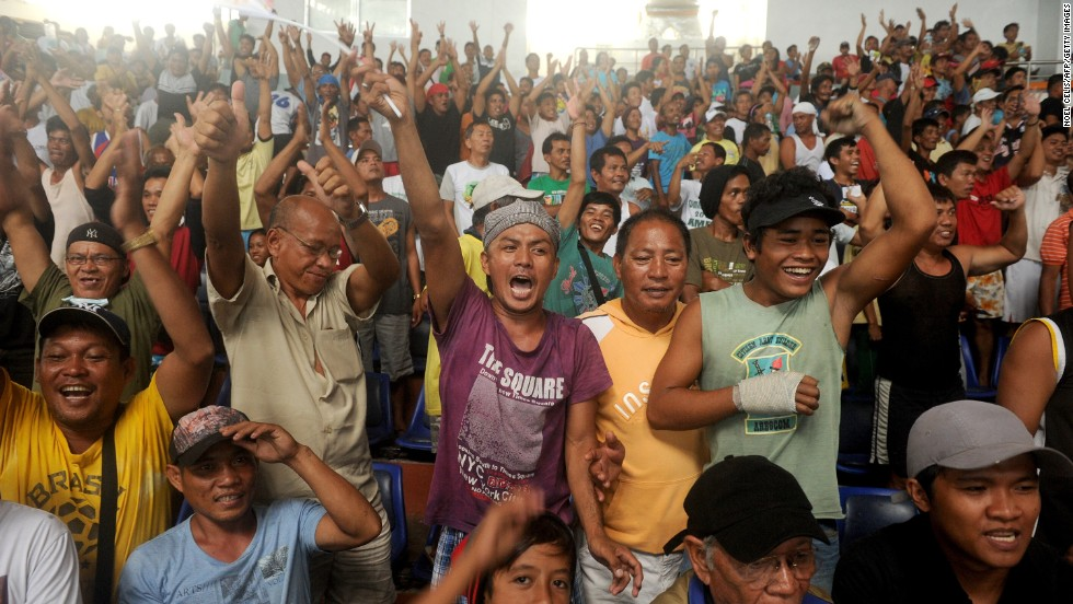 Filipinos in Tacloban --- one of the areas worst hit by the typhoon -- joined the nation in celebration after watching Pacquiao defeat Rios in Macau.