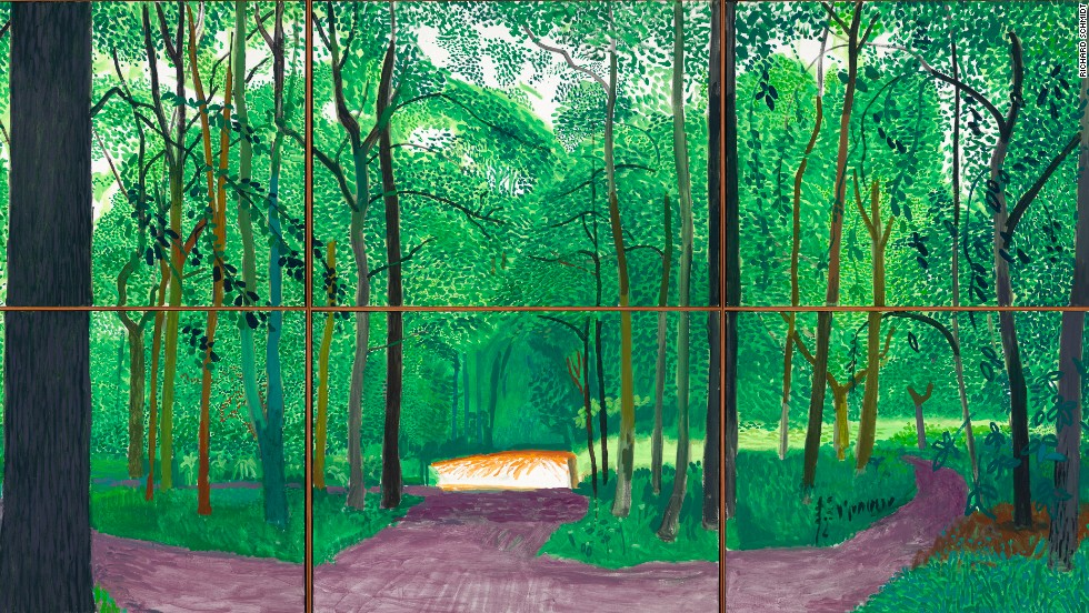 Hockney features Woldgate Woods, the forested area surrounding his Bridlington, England home, not only in oil, as it's seen here, but also in iPad drawings, charcoal, watercolor, and multi-perspective cubist movies.