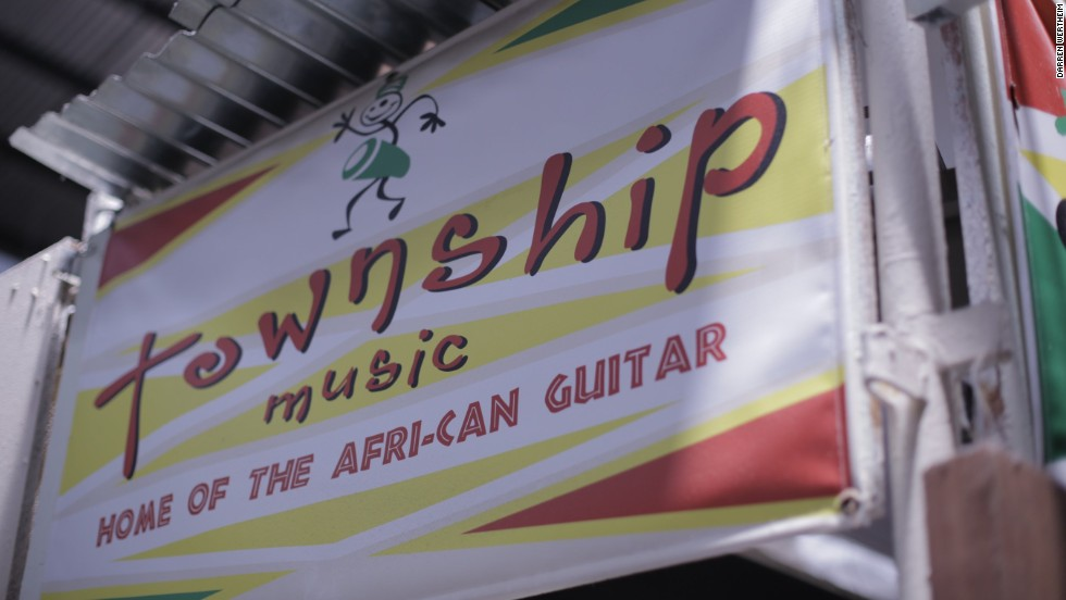 """""""When we were kids we couldn't afford to buy a guitar so we used to make our own guitars, with a can used as an acoustic kind of body -- but these are just purely electric,"""" adds Ngwenya."""