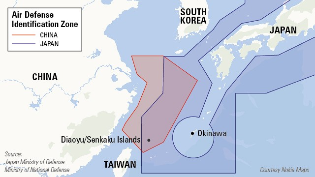 Map showing the controversial air defense identification zone in the East China Sea.