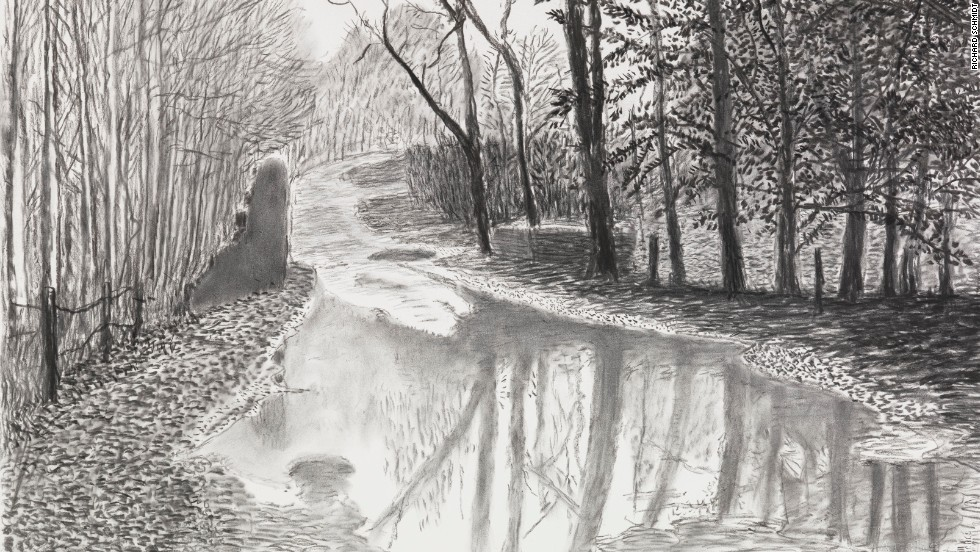 Detail of Woldgate After the Rain. While Hockney's use of technology is notable, analog mediums prove useful as well: here, he relies on charcoal to emphasize winter's lifelessness.