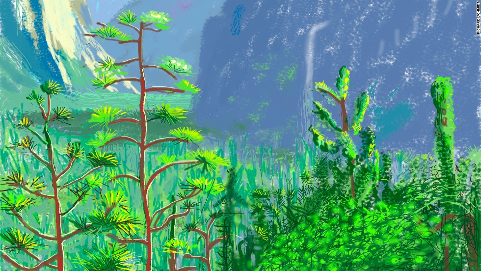 A detail of Yosemite I. Hockney's famously bright aesthetic translates well to the iPad, which allows him to match colors and tones faster than ever before.