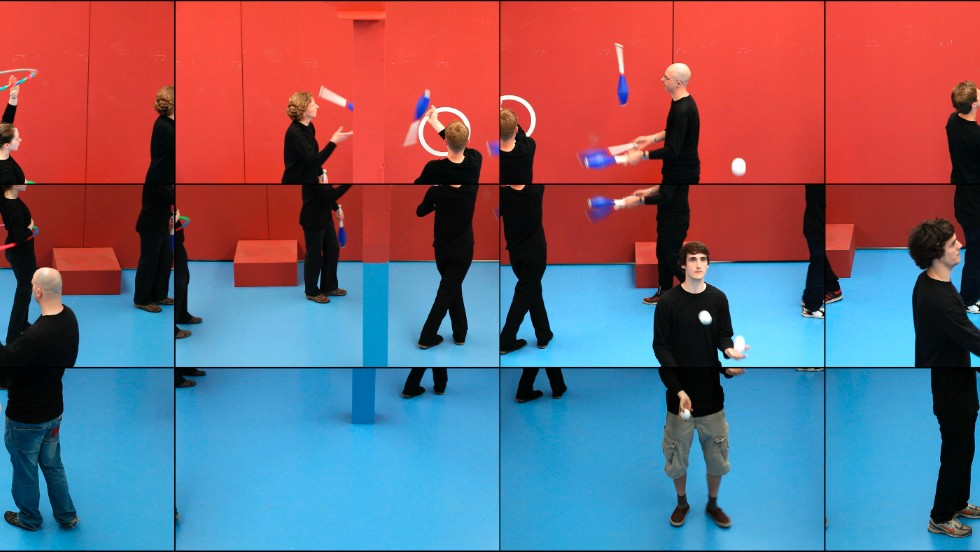 Detail of The Jugglers. The work was created using 18 digital video cameras, and is played back in the gallery on 18 different screens. The variations in perspective lend the work an almost cubist feel.