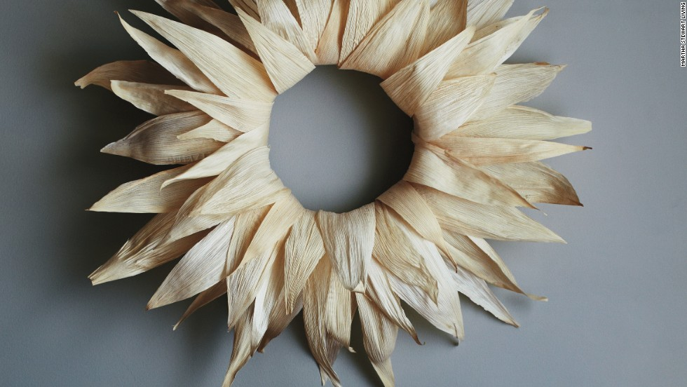Homespun holiday: This wreath is a rustic nod to the harvest season, and it's made with tamale wrappers from the grocery store.<strong>Supplies: </strong>Corn husks, Bowl of water and paper towels, Straw wreath, T pins, Glue gun, Scissors