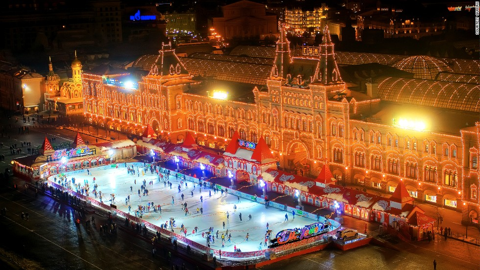 In winter, a quarter of Red Square is covered with a Christmas-decorated rink. Skaters speed in ovals below the Kremlin, St. Basil's Cathedral and the State Historical Museum.