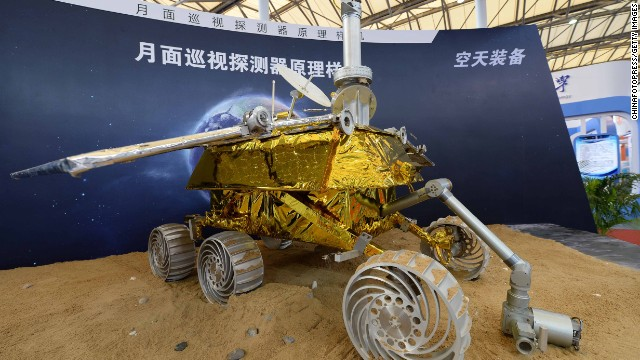 SHANGHAI, CHINA - NOVEMBER 05: (CHINA OUT) A model of the Chang'e-3 lunar rover is on display during the China International Industry Fair 2013 at Shanghai New International Expo Centre on November 5, 2013 in Shanghai, China. China is set to launch the Chang'e 3 moon probe with a Shanghai-made lunar rover at the end of the year. (Photo by ChinaFotoPress/Getty Images)