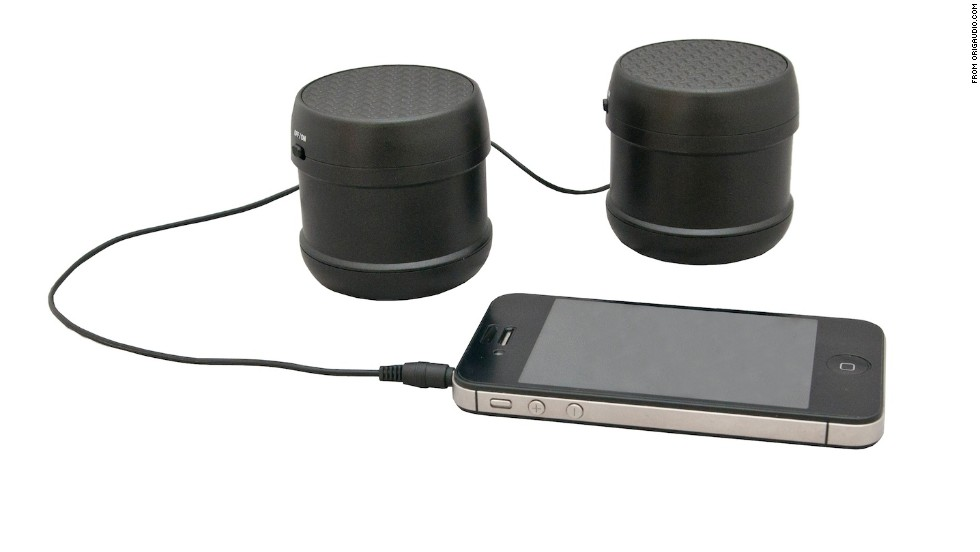 """<strong>Epishock travel speaker.</strong> What's that? Want to blow out a party but you left your Cerwin-Vegas in your other jacket? Perhaps you should try the Epishock. About the size of a camera lens, the Epishock produces <a href=""""http://www.origaudio.com/shop/index.php?dispatch=products.view&product_id=29848 """" target=""""_blank"""">big sound when placed on a flat surface</a>. Simply plug it into an audio device, place it on a table, and voila! Instant tunage. ($44.99)"""