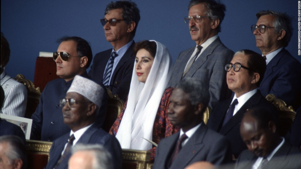 Bhutto attends an international summit in Paris on July 13, 1989.