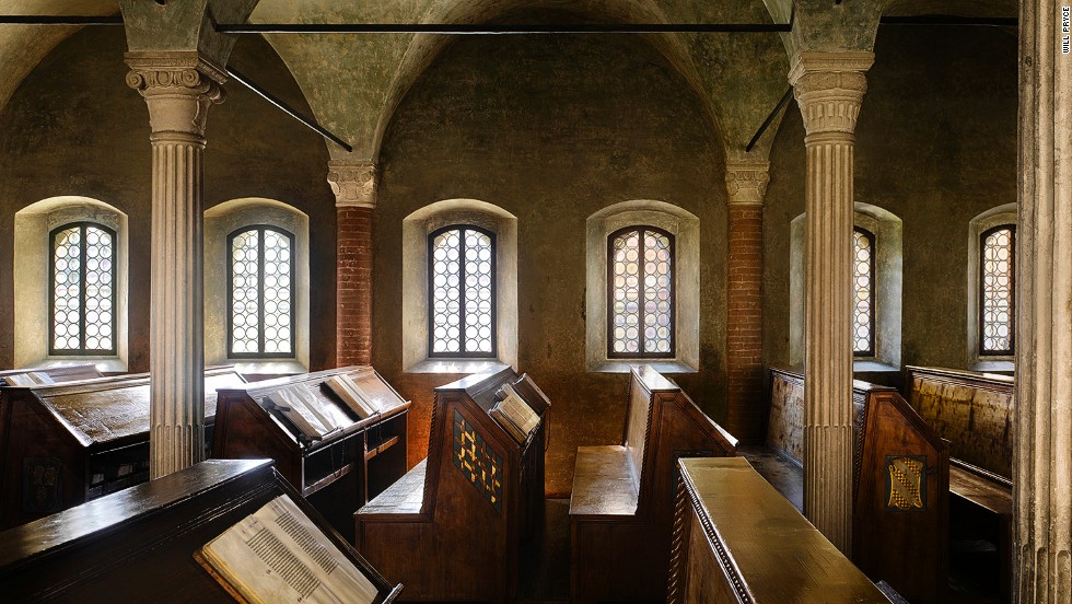 "<em>Biblioteca Malatestiana, Cesena, Italy</em><br /><strong><br />James Campbel</strong>l: ""This is the closest you can get to what a medieval library looked like. It was built for Malatesta Novello, a member of a prominent Italian aristocratic family, and it still contains original books, in their original places."""