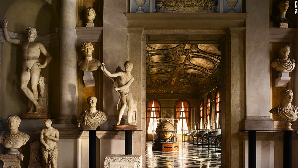 "<em>Biblioteca Marciana, Venice, Italy</em><br /><strong><br />Will Pryc</strong>e: ""It's an extraordinary piece of design, a statement of confidence by the Venetian Republic. It lies at the center of Jacopo Sansovino's scheme to re-design St Mark's square, though the building was completed after his death. The vestibule houses the Grimani collection of classical sculpture under a ceiling by Titian. While the original lecterns have gone, the superb interior design of the library gives us a sense of the richness of Venetian cultural life in this period."""