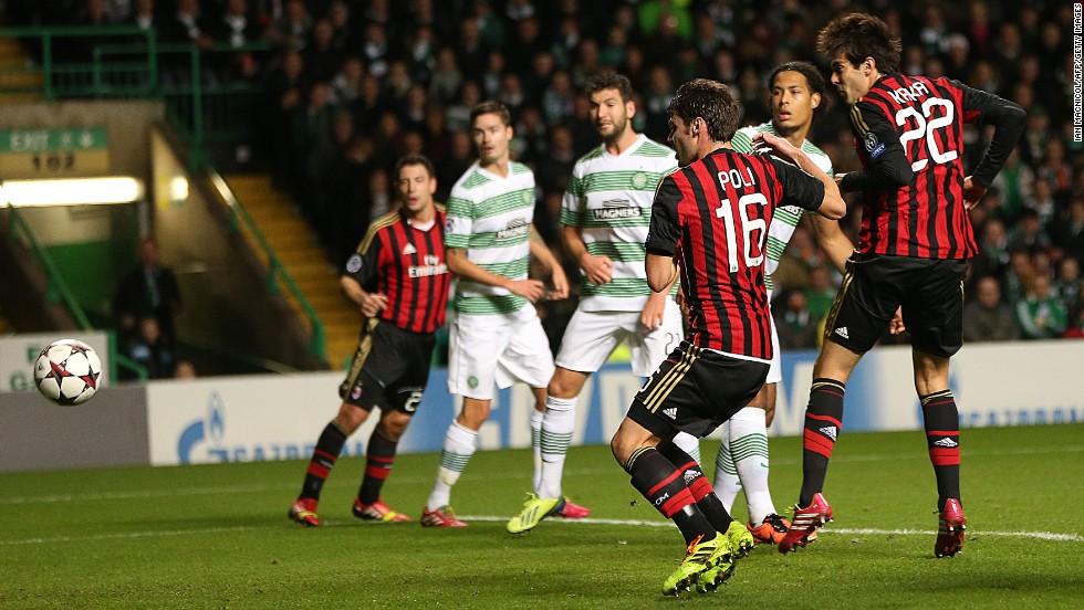 Kaka opens the scoring for AC Milan against Scottish champions Celtic.