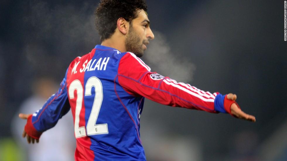 Basel's Egyptian midfielder Mohamed Salah celebrates scoring the winning goal against Chelsea.