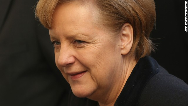 German Chancellor  Angela Merkel arrives at the headquarters of the German Social Democrats on Tuesday in Berlin.