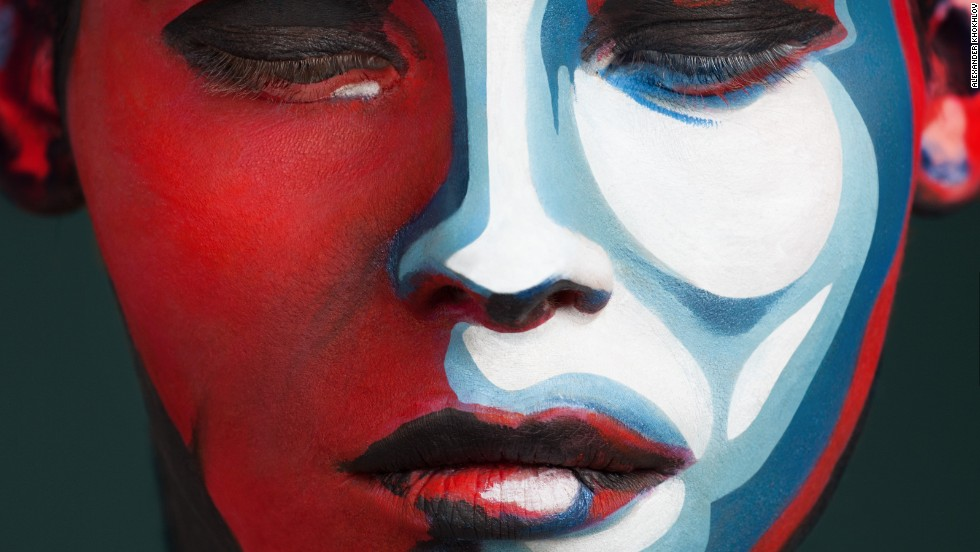 Here, a female model is made to look like a version of the iconic red and blue Obama poster created by graphic designer Shepard Fairey.