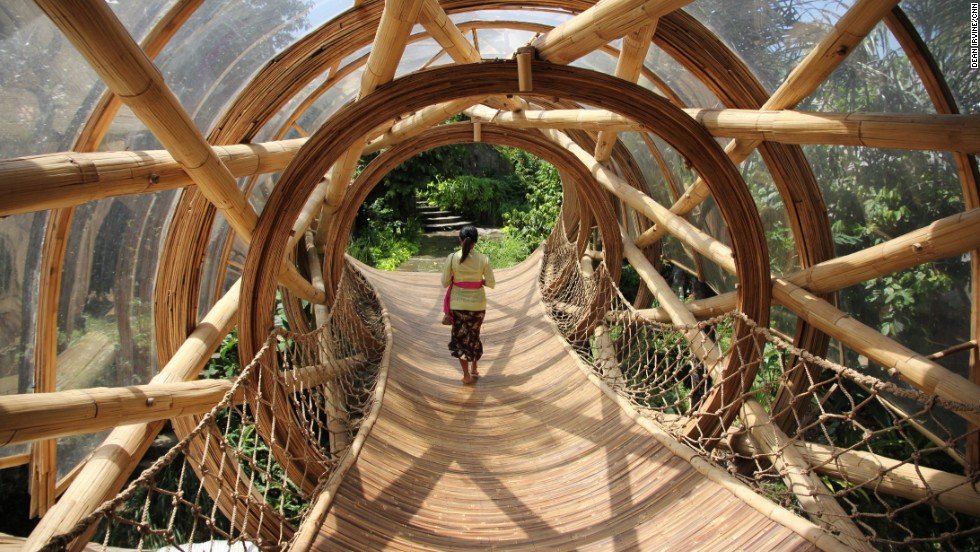 A myriad of innovative bamboo walkways and staircases weave through the village.