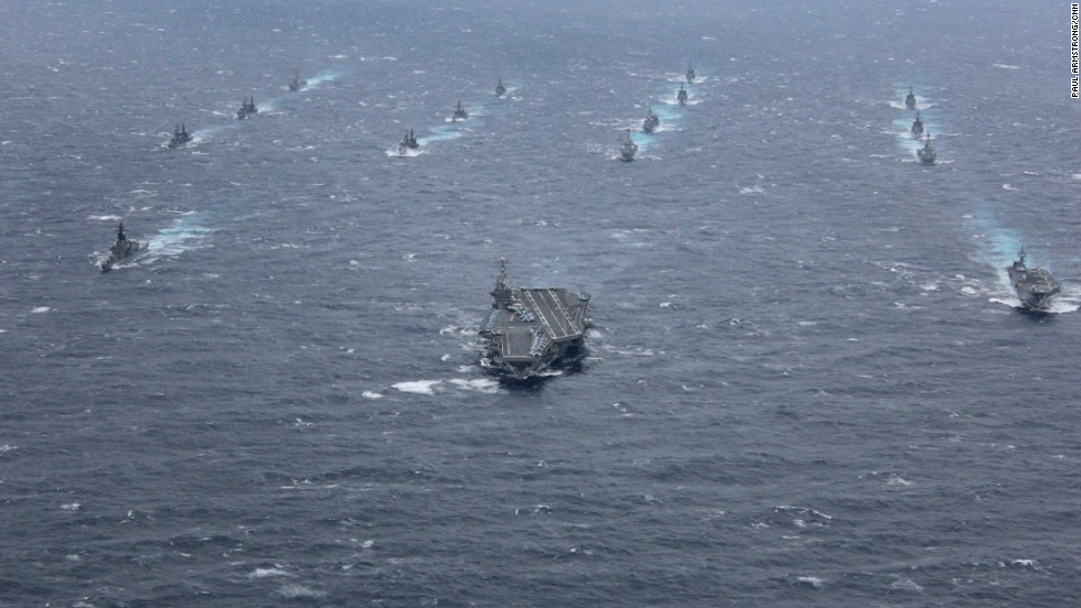 Led by the huge Nimitz-class carrier, this year's AnnualEX 2013 war games brought together dozens of warships from both navies to test their ability to work effectively in a volatile region.