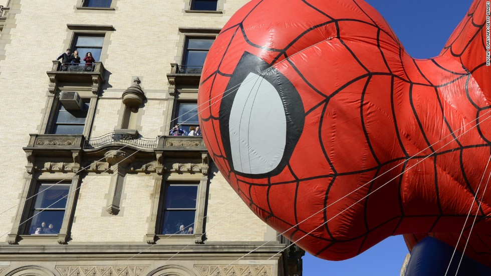 The Spider-Man balloon floats down New York's Central Park West during the Macy's Thanksgiving Day Parade on Thursday, November 28. After fears they could be grounded due to high winds, the parade's iconic balloons were given the all-clear from the New York Police Department.