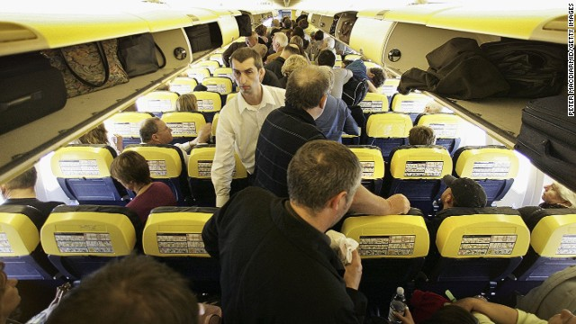 'Please take your seats, and just chill out.' Air travel can be far from relaxing.
