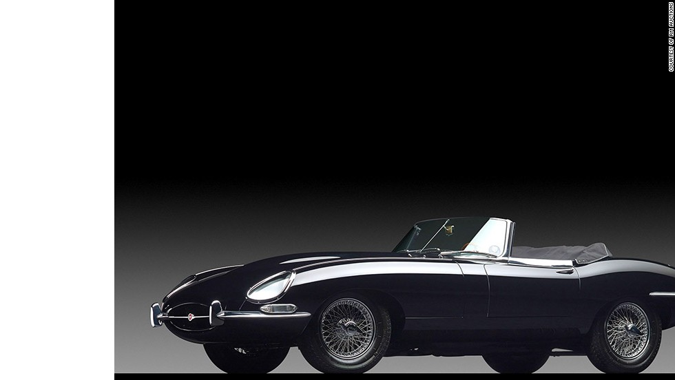 This is a Jaguar 1966 E-Type. Enzo Ferrari himself described the E-Type as the most beautiful car ever made and owners have included the likes of Tony Curits, Steve McQueen, Brigitte Bardot and Patrick Dempsey. A relatively bargain at the Sotheby's auction, selling for $467,500.