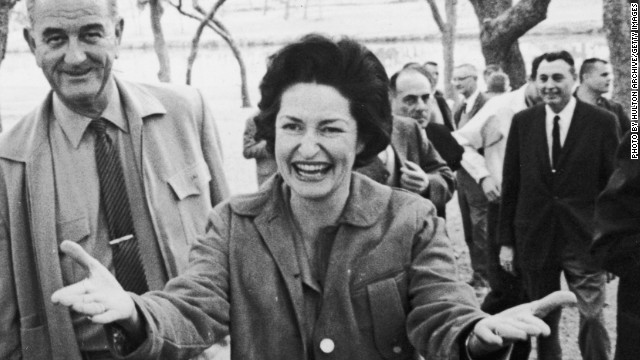 Lady Bird Johnson, shown in 1963, made highway beautification her cause as first lady.