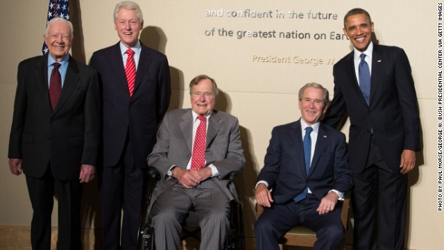 Former presidents Carter, Clinton, Bush 41,  Bush 43, and President Barack Obama pose at opening of George W. Bush Presidential Center.