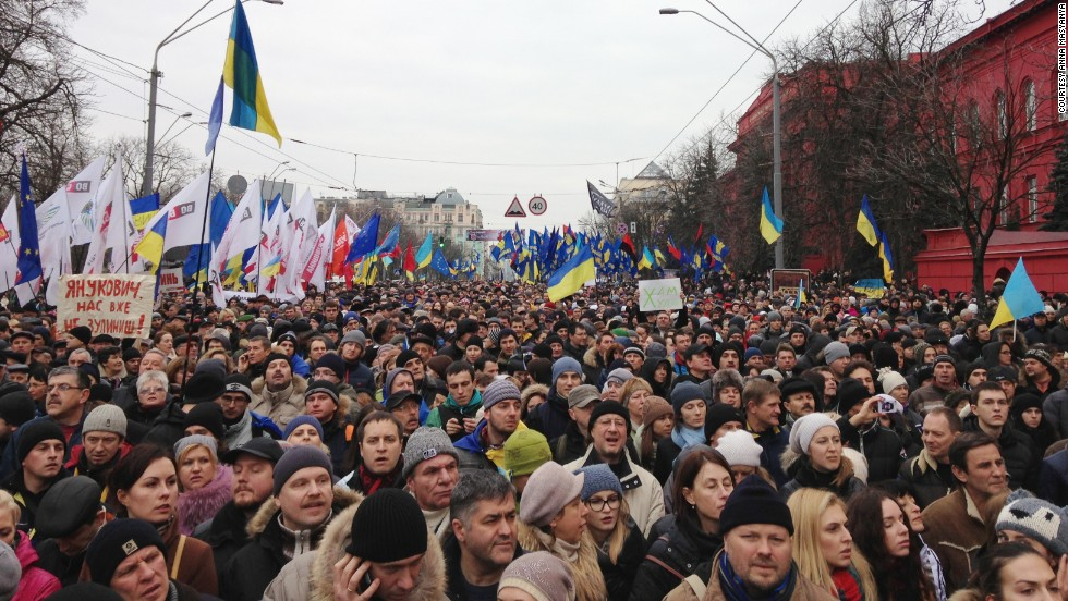Anti-government protesters gather near Shevchenko University on December 1 in Kiev.