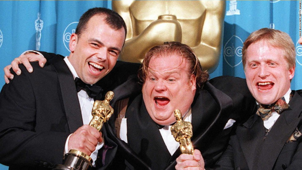 "Chris Farley, at center with filmmakers Tyron Montgomery, left, and Thomas Stellmach after they won the Oscar for best animated short film for ""Quest"" in 1997. Farley<a href=""http://nymag.com/arts/books/reviews/47039/"" target=""_blank""> reportedly was working on</a> the animated film ""Shrek"" when he died of an overdose in 1997. His ""SNL"" colleague Mike Myers would go on to snag the role."