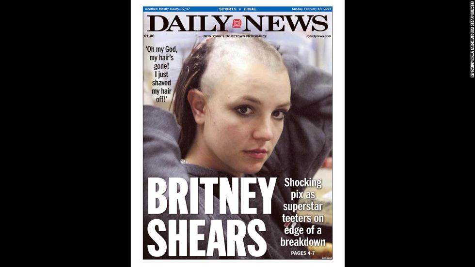 A New York Daily News front page dated February 18, 2007, shows Spears after she shaved her head. Headlines at the time focused on whether the star was in the midst of a breakdown.