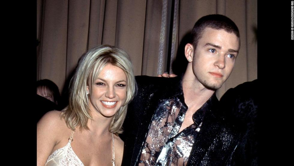 In 2001, Spears appears on the red carpet with then-boyfriend and fellow Mouseketeer Justin Timberlake.