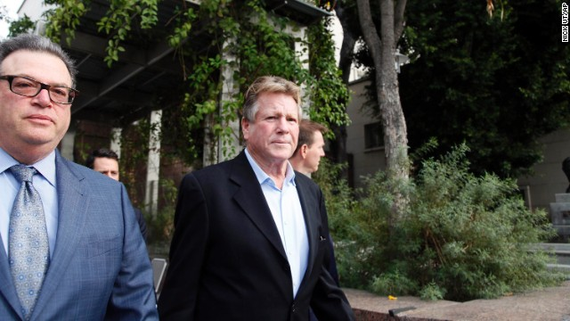 Ryan O'Neal leaves court after testifying that an Andy Warhol portrait of Farrah Fawcett is his.