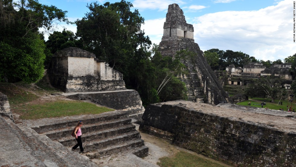The pyramids at Tikal were probably built between 250 and 900 AD and situated to correspond with the position of the sun.