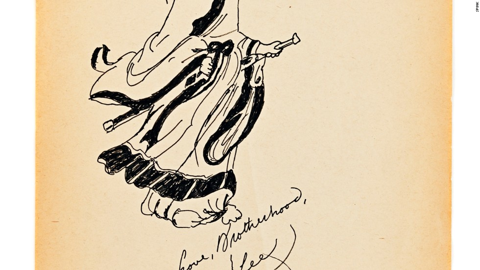A hand-drawn sketch of a Chinese master monk drawn by Bruce Lee in 1973 goes on sale in Hong Kong on December 5.