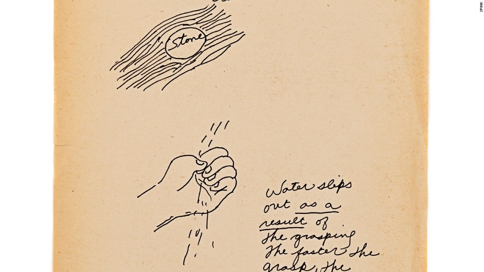 "Water's fluid and adaptable properties inspired Lee's martial arts philosophy. This hand-drawn illustration by the action star reads: ""Motion of water / to fit, to accommodate (sic) itself to stone. Water slips out as a result of the grasping / the faster the grasp, the faster it slips."""