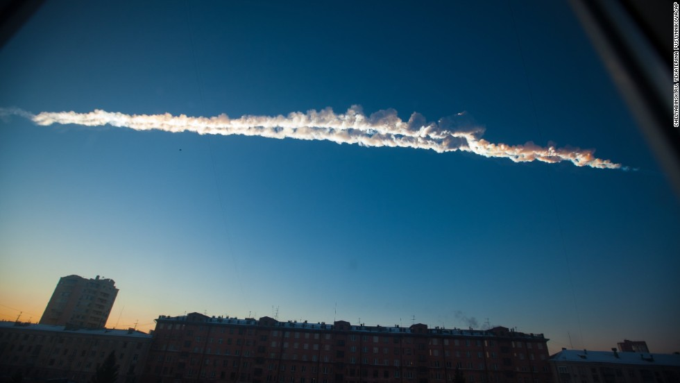 <strong>February 15:</strong> A meteorite contrail is seen over Chelyabinsk, Russia, about 930 miles east of Moscow. More than 1,500 people were hurt, authorities said, and thousands of buildings were damaged after a meteor exploded in the skies with the force of about 30 early nuclear bombs.