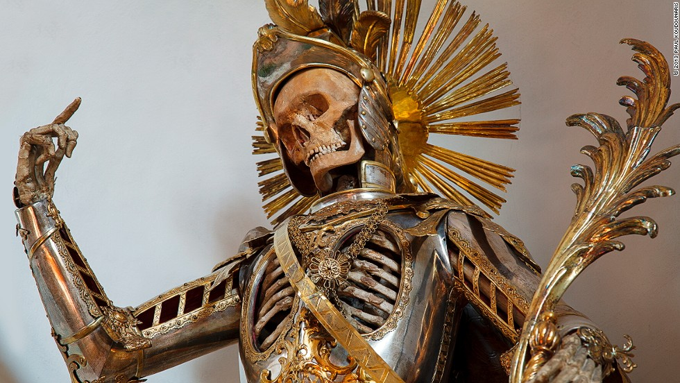 <em>St. Pancratius in Wil, Switzerland was dressed as a Roman soldier in 1672. Artisans added the armor suit in the 18th century</em><br /><br /><strong>CNN: Did artisans always come from the Catholic church?</strong><br /><br /><strong>PK: </strong>The people who decorated the skeletons were most commonly nuns. If not nuns, maybe monks or lay brothers affiliated with a local religious organization. Only when something special was needed—for cases in which it was desired to decorate the skeleton with a silver suit of armor, for instance, as was sometimes done—did they contract with secular artisans. <br /><br />Nuns in particular were a perfect choice for decorating skeletons like this. They were frequently involved in textile work, lace work, and beading, which they practiced on a very high level. These are what we might consider craft arts, but the exact kind of skills that were necessary for decorating a skeleton in this way.