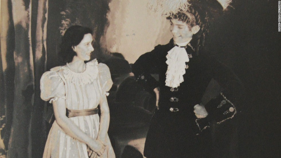 A signed image of Princess Margaret and Cyril Woods on stage in Old Mother Red Riding Boots in 1944.