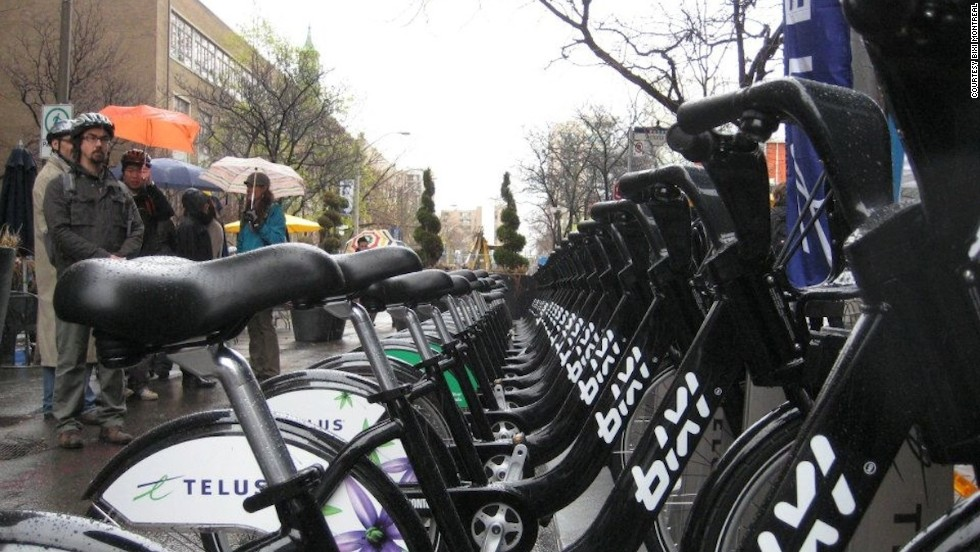 """Montreal's <a href=""""http://montreal.bixi.com/"""" target=""""_blank"""">Bixi program<strong></a> </strong>averages 6.8 trips per bike and 113.8 trips per 1,000 residents. Tourists are welcome to sign up while visiting."""