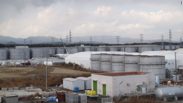 Contaminated water storage tanks at Fukushima.