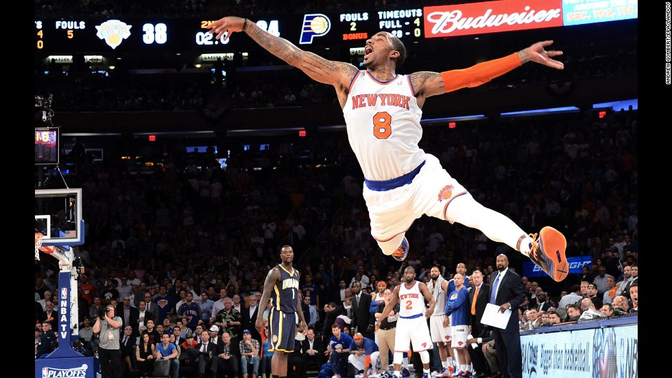 New York Knicks shooting guard J.R. Smith takes a shot against the Indiana Pacers in the final second of the first half of their NBA Eastern Conference Semifinal game at Madison Square Garden in New York on May 16. The Knicks won 85-75.