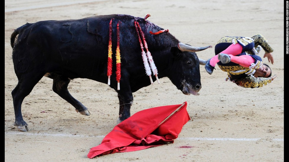 Ivan Fandino is gored by a bull on May 22 at Plaza de Toros de Las Ventas in Madrid.